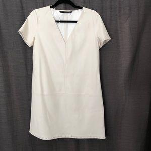 Zara Cream Faux Leather Mini Dress